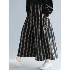 Plaid Wide Leg Pants -RM143.94