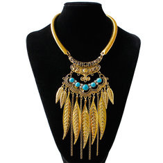 Vintage Statement Necklace Turquoise Leaves Chains-RM45.44