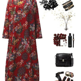 Long Sleeve Printed Maxi Dresses -US$22.99