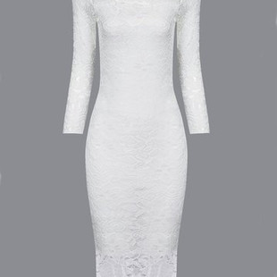 Elegant Lace Bodycon 3/4 Length Sleeves Wo-US$12.45