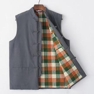 100% Cotton National Style Middle-aged Plaid Vest-US$38.88