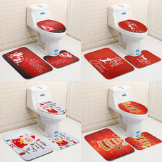 3PCS Christmas Toilet Seat Covers Mat Set-US$12.45