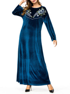 Muslim Embroidery Maxi Dress -US$56.00