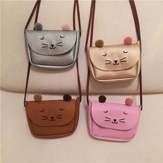 Kindergarten Children PU Leather Handbag Cartoon Cat Crossbody Bag-US$8.98