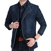Mens Clothing Fashion Urban Casual Business Multi-Big Pockets Loose Classic Elegant Jeans Blazer -RM183.31