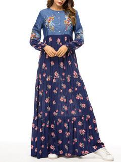 Floral Embroidery Long Sleeve Muslim Dress -US$39.99