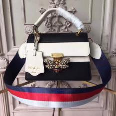 Gucci Queen Margaret Leather Top Handle Bag Black and White RM1,400.00