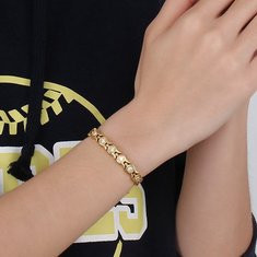 Fashion Chain Gold Bracelet Magnetic Therapy Zirconia Stainless Steel-RM137.25