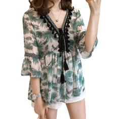 Bohemia Floral Printed Half Sleeve Chiffon Shirt-RM75.20