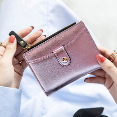 Women Faux Leather Short Slim Wallet Card Holder Coin Purse-RM46.78