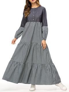 Stripe Patchwork Long Sleeve Grey Muslim Dr-US$39.99