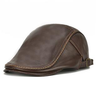 Casual Warm Adjustable Cowhide Beret Hat -RM136.34