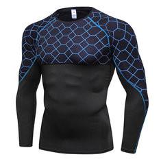 Mesh Printing Patchwork Sport Elastic Skinny Tops