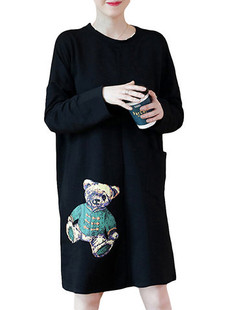 Bear Printed Warm Thicken Sweatshirt Dress -US$40.34
