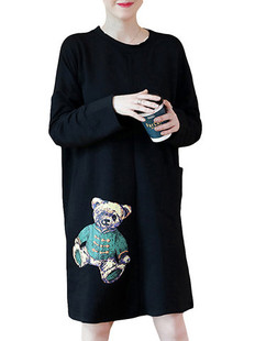 Bear Printed Warm Thicken Sweatshirt Dress -US$40.34