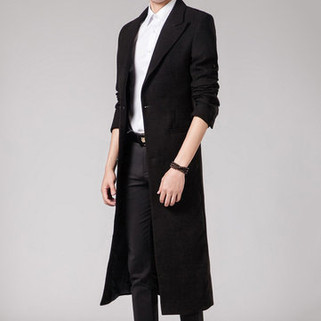 RM248.27-Long Style Woolen Casual Trench Coat