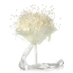 Bridal Wedding Bouquet Brooch Imitation Pearls Posy White Simulation Flowers-RM112.28