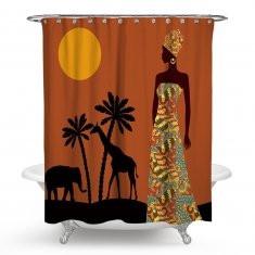 Indian Woman Printed Waterproof Shower Curtains-RNRM82.79 ~ 103.67