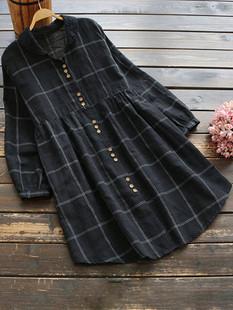 Loose Plaid Print Vintage Dress -US$53.99