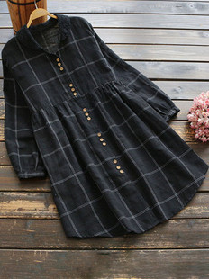 Loose Plaid Print Vintage Dress -US$53.99