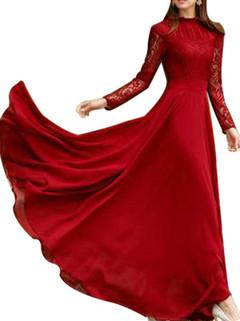 Red Lace Chiffon Maxi Gown Dress -US$44.66