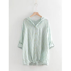 Drawstring Print Hooded Casual Blouse-RM124.57