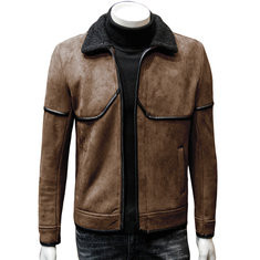 Mens Inside Fleece Turn Down Collar  Leather Trench Coat-US$43.87