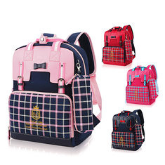 Kids School Bag Grid Shoulder Bag Children High-End PU Leather Backpack-US$20.43