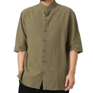 Two-Sided Men Plus Size Pure Color Thin Loose Chinese Buttons Closure Half Sleeve Mens Cotton Shirts-US$18.07