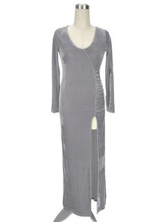 Velvet Long Sleeve Split Bodycon Maxi Dress -US$24.00