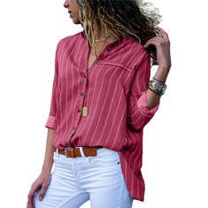 V-neck Print Striped Blouse-RM 85.34