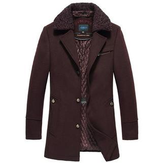 RM298.43-Detachable Collar Woolen Trench Coat