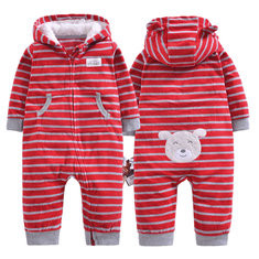 Striped Hooded Baby Jumpsuit For 6-36M