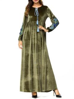 Embroidery Long Sleeve Islam Muslim Dress -US$46.80