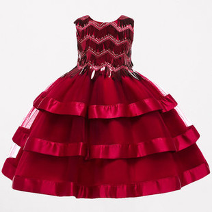 Sequined Patch Girls Layered Dress For 3-13Y -US$40.99