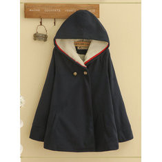 Solid Color Hooded Cape Coat-RM167.50