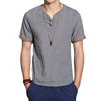 Mens Clothing Cotton Linen Chinese Style Retro Solid Color Summer Archaic T Shirt -RM52.43
