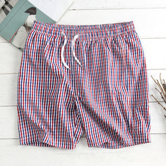 Summer Plaid Knee Length Board Shorts-US$15.49