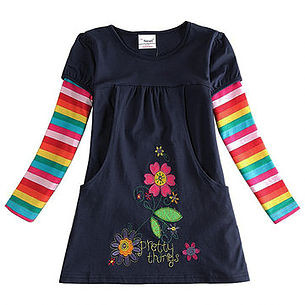 Embroidery Floral Toddler Girls Long Sleeve Cotton Dresses For 2Y-9Y -US$20.63