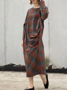 Irregular Loose Plaid Vintage Dress -US$59.99