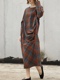 Irregular Loose Plaid Vintage Dress -US$59.99