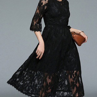 Women Solid Color Half Sleeve Elegant Lace -US$26.59