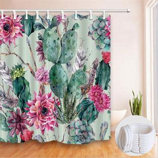 180*180cm Modren Cactus Bathroom Curtains -US$15.99