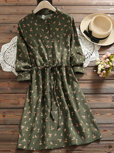 Drawstring Waist Leaves Print Dress -US$43.99