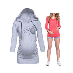 Solid Color Maternity Hooded Tops-US$24.99