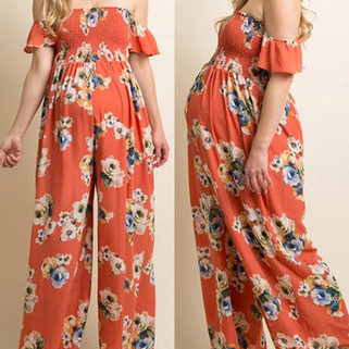 RM140.22 - Floral Chiffon Off Shoulder Jumpsuit