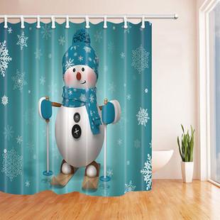 180x180cm Skiing Snowman Shower Curtain -US$19.98
