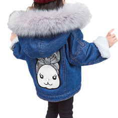 Faux Fur Girls Denim Coats For 2Y-9Y-US$48.99