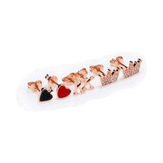JASSY® 6pcs 925 Silver Rose Gold Ear Studs-US$27.71