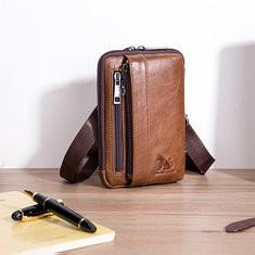 Men Genuine Leather Solid Waist Bag Shoulder Phone Bag-US$29.10